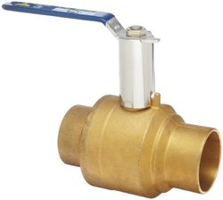 """Milwaukee Valve BA-485B-xH Series Brass Ball Valve with Extension Stem, Two Piece, Inline, Lever, 1-1/4"""" Solder End"""