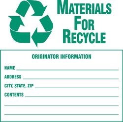"Brady 60369,  Hazardous Waste Labels, 6"" Height x 6"" Width, Green on White, Legend ""Materials For Recycle...Etc""  (100 per Package)"