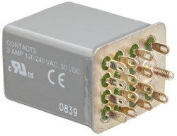 Siemens 3TX7127-3HF10 Basic Plug In Relay, Hermetically Sealed, Square Base, Mechanical Flag, 4PDT Contacts, 3A Contact Rating, 120VAC Coil Voltage