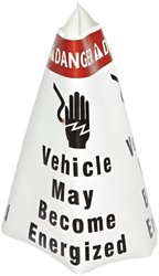"""Brady 101972,  Vinyl 9.5 Traffic Cone Sleeve B,R/W 6/Pk, 19.750"""" Height x 9.398"""" Width, Red/Black on White, Legend """"Vehicle May Become Energized""""  (1 per Order)"""