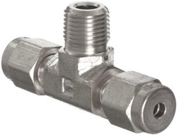 """Parker A-Lok 6MBT6N-316 316 Stainless Steel Compression Tube Fitting, Branch Tee, 3/8"""" Tube OD x 3/8"""" NPT Male x 3/8"""" Tube OD"""