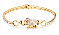 18K Gold Plated Elephant Charm Bangle Bracelets with Swarovski Elements