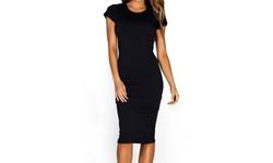 Yelete Women's Short Sleeve Crew Neck Midi Bodycon Dress - Black - Size: L