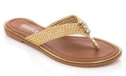 Rasolli Women's Thong Sandals Flag - Gold - Size: 9