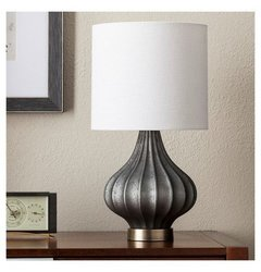 ThresholdTM Ridged Glass Gourd Table Lamp - Dark Gray