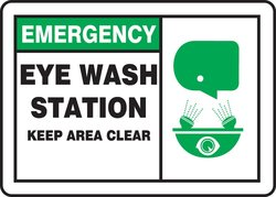 "Accuform Plastic Safety Sign ""EMERGENCY EYE WASH STATION KEEP AREA CLEAR"""