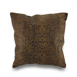 Zeckos Snakeskin Print Patchwork Throw Pillow - Black/Brown - Size: 17""