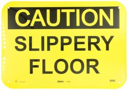 "Master Lock ""Caution Slippery Floor"" Safety Sign Board - Black/Yellow"