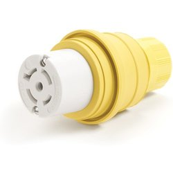 Woodhead 27W81MB Watertite Wet Location Locking Blade Connector For Male Receptacle, 3-Phase, 5 Wires, 4 Poles, NEMA L21-20 Configuration, Yellow, 20A Current, 120/208V Voltage