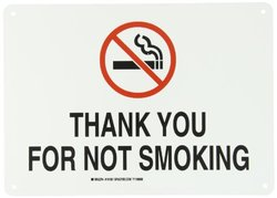 "Brady 141931 14"" Width x 10"" Height B-555 Aluminum, Red and Black on White Sign, Legend ""Thank You For Not Smoking"" (with Picto)"