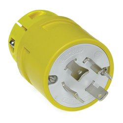 Woodhead 2876 Super-Safeway Plug, Industrial Duty, Locking Blade, 3 Phase, 3 Poles, 4 Wires, NEMA L16-30 Configuration, Rubber, Yellow, 30A Current, 480V Voltage