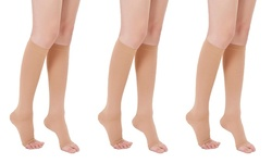 Open Toe Women's Knee High Compression Socks - Pink - Size: One