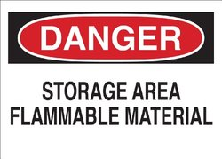 "Brady 69511 Premium Fiberglass Fire Sign, 10"" X 14"", Legend ""Storage Area Flammable Material"""