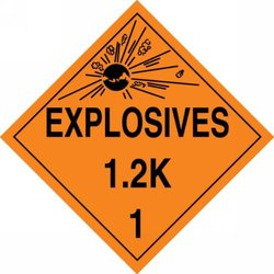 "Accuform Signs MPL118VS25 Adhesive Vinyl Hazard Class 1/Division 2K DOT Placard, Legend ""EXPLOSIVES 1.2K 1"" with Graphic, 10-3/4"" Width x 10-3/4"" Length, Black on Orange (Pack of 25)"