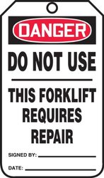 """Accuform Signs TRS327PTP Forklift Status Tag, Legend """"DANGER DO NOT USE - THIS FORKLIFT REQUIRES REPAIR"""", 5.75"""" Length x 3.25"""" Width x 0.015"""" Thickness, RP-Plastic, Red/Black on White (Pack of 25)"""