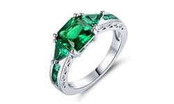 18K Emerald 4CTW Ring - White Gold Plated - Size: 8