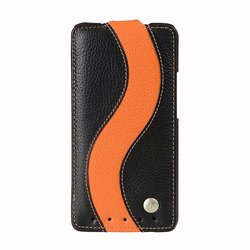 Melkco Leather Case for HTC One M7 - Black/Orange (O2O2M7LCJS1BKOELC)