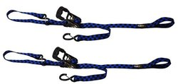 EK Motorsports Power Cat Dual Clip Soft End Tie Downs - Blue/Black Checker