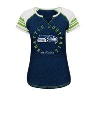 Women's Seattle Seahawks NFL Short Sleeve Raglan Split Neck Tee - Navy - L