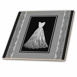 "3dRose 12"" Silver Gray Gown on Striped & Damask Frame-Ceramic Tile"