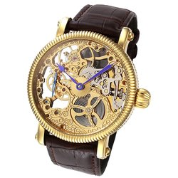 Rougois Men's Mechanique Gold Skeleton Leather Band Watch - Brown