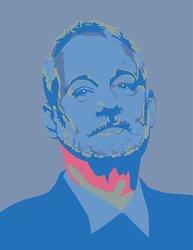 """19.75x24"""" Bill Murray 5 Warhol UStrip Peel/Stick Wall Decal Sticker - Blue"""