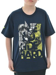 One Industries Youth Stacked Tee - Navy - Size: Small