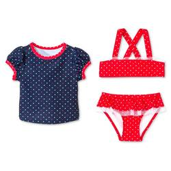 Toddler Girls 3Pc Polka Dots Swim Rash Guard Set - Nightfall Blue - 5T