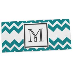 """KESS InHouse 13""""x22"""" Letter """"M"""" Office Desk Mat - Monogram Chevron Teal"""