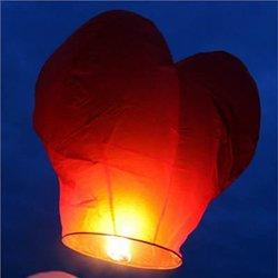 Olymstore 50-Piece Heart Sky Fly Fire Paper Lanterns Wishing Lamp - Red