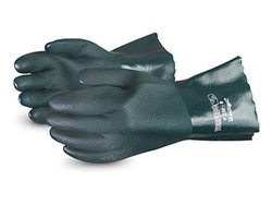 "Superior Glove 12"" L Double Dip PVC Glove - Pack of 12 - Green - Size: 8"
