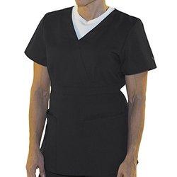 Women's Fashion Mock Wrap Scrub Top - Black - Size: 3XL