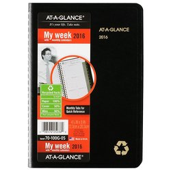 "At-A-Glance 4-7/8"" x 8"" Recycled Weekly/Monthly Appointment Book - Black"