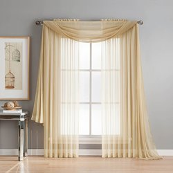 "56""x90"" Diamond Sheer Voile Extra Wide Rod Pocket Curtain Panel - Beige"