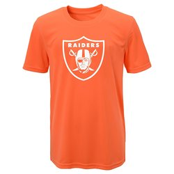 NFL Boy's Oakland Raiders Performance T-shirt - Neon Orange - Size: Large