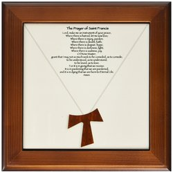 "3dRose 8"" x 8"" The Prayer of Saint Francis on Creme Beige Framed Tile"
