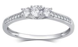 Brilliant Diamond 0.25 CT Women's 3 Stone Ring - 10K White Gold - Size: 8