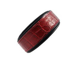 SexyBeast 1-Inch Embossed Leather Dog Collar - Cherry Crocodile - Size: XL