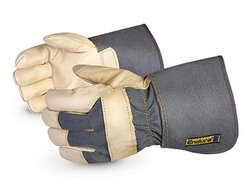 Endura Cowgrain Leather Fitters Work Gloves with Gauntlet Cuff - 12-Pack