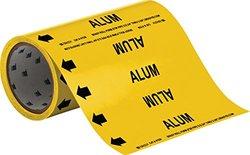 "Brady 41539 Roll Form Pipe Markers, B-946, 8"" X 30', Black On Yellow Pressure Sensitive Vinyl, Legend ""Alum"""