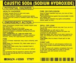 "Brady 93509 Vinyl Hazardous Material Label , Black On Yellow,  3 3/4"" Height x 4 1/2"" Width,  Legend ""Caustic Soda (Sodium Hydroxide)"" (25 Labels per Package)"