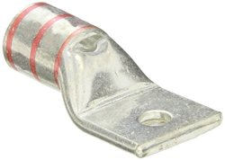 "Panduit LCAX300-38-6 Flex Conductor Lug, One Hole, Standard Barrel With Window, 313.1kcmil Diesel Locomotive Size, 300kcmil Class G/H/I/K/M Conductor Size, 3/8"" Stud Hole Size, Red Color Code, 1-1/4"" Wire Strip Length, 0.18"" Tongue Thickness, 1.39"" Tongue"