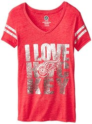NHL Detroit Red Wings Girl's Love the Puck S/S Tee - Red - Size: XL