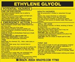 "Brady 93534,  Hazardous Material Label:Dot 5800.4-1987, 3 3/4"" Height x 4 1/2"" Width, Black on Yellow, Legend ""Ethylene Glycol""  (25 per Package)"