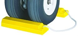 """Tigerchocks AC3512-RP-P Urethane Lightweight Commercial Aviation Wheel Chock with Rubber Base, Yellow, 12"""" Length, 5"""" Width, 3.25"""" Height (Pair)"""