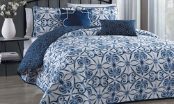Geneva Home Paloma 5 piece Quilt Set - Navy - Size: Queen