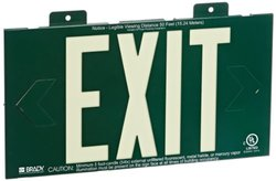 "Brady 90887B 8"" Height, 15"" Width, B-355 Photoluminescent, Green Color Exit And Directional Sign, Legend ""Exit (Non Electric, Single-Sided With Bracket)"""