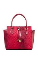 Valerie Stevens Women's Faux Python & Nappa Satchel Handbag - Red