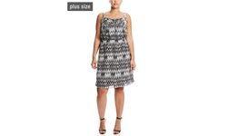 Women's Plus-Size Sleeveless Empire Waist Dress - Black/Gray - Size: 3X
