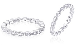 Sevil Women's 18k White Gold Eternity Band with Accent Diamond - Size: 5